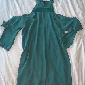 Collective Concepts Emerald Peep Shoulder Dress